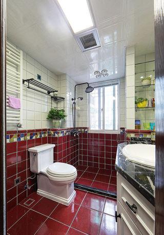 红色简美式复古家装卫生间效果图