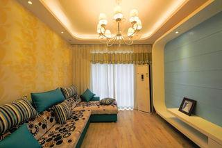 黄色背景装饰现代二居室室内效果图