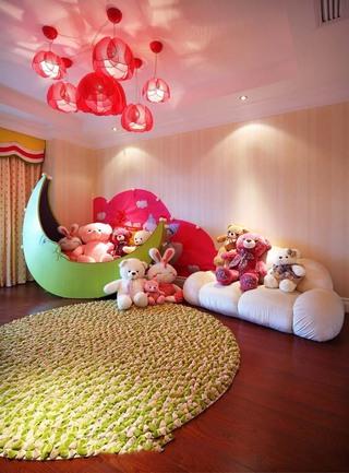 梦幻甜美粉色东南亚装修儿童房效果图