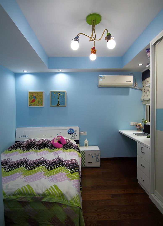 清爽天空蓝现代风卧室背景墙装饰效果图