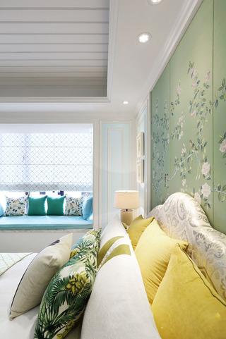 唯美浪漫美式中式混搭卧室背景墙装饰
