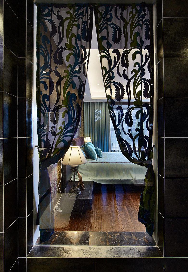 黑色浪漫东南亚设计卧室窗帘效果图