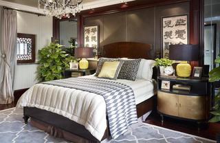儒雅中式新古典卧室背景墙设计