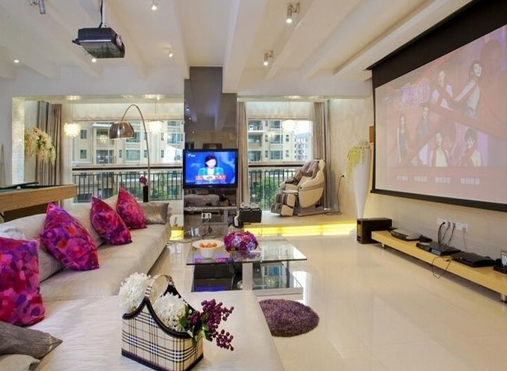 时尚大气现代风格客厅影视墙效果图