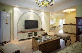 清新浅绿复古乡村地中海风格两室两厅装饰效果图