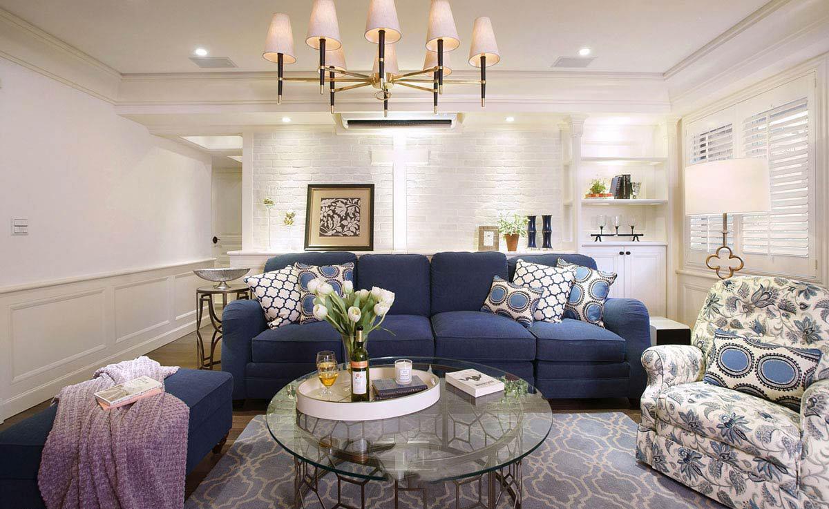 浪漫精致复古美式装修小客厅沙发装饰