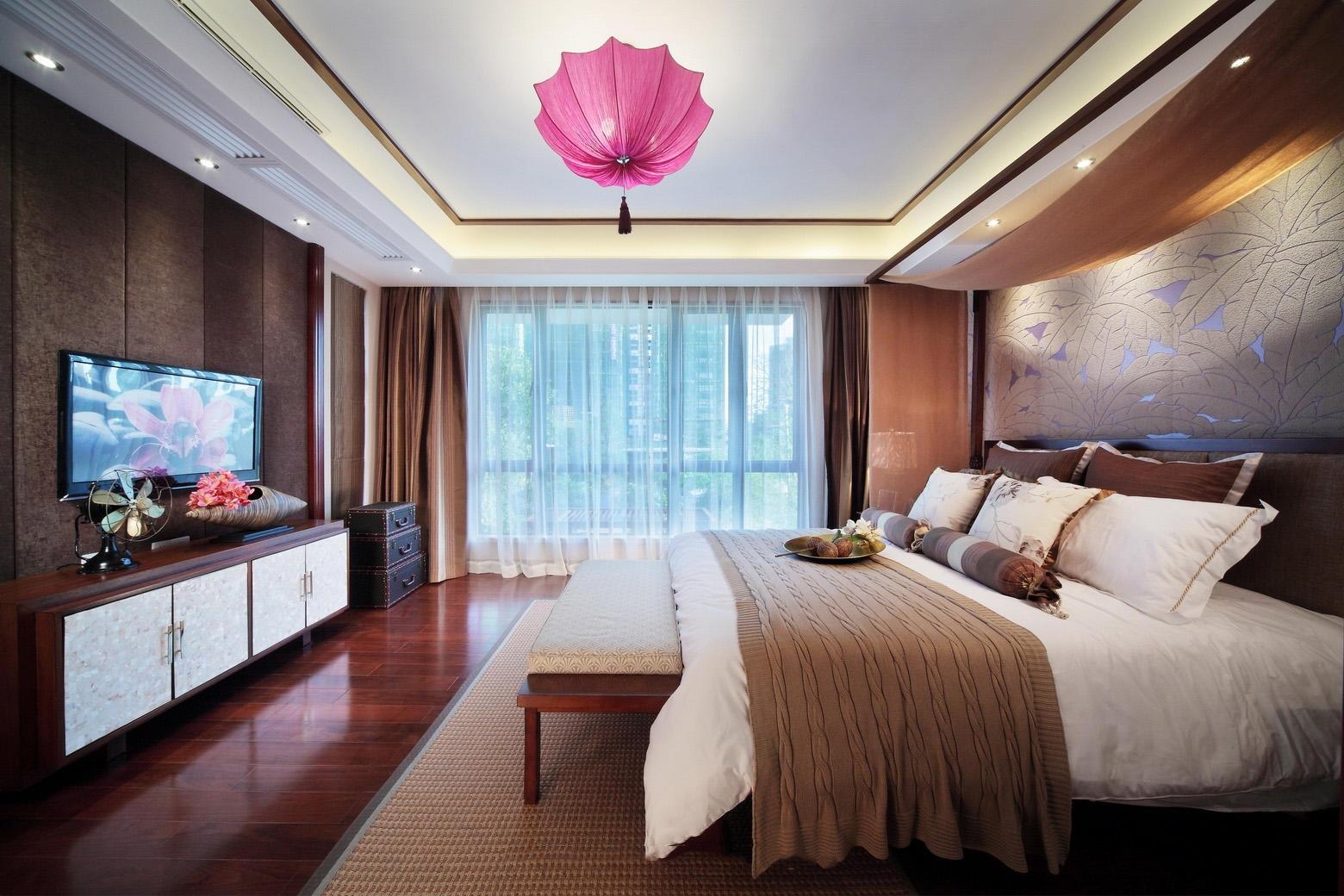 唯美简约东南亚风情卧室吊顶设计