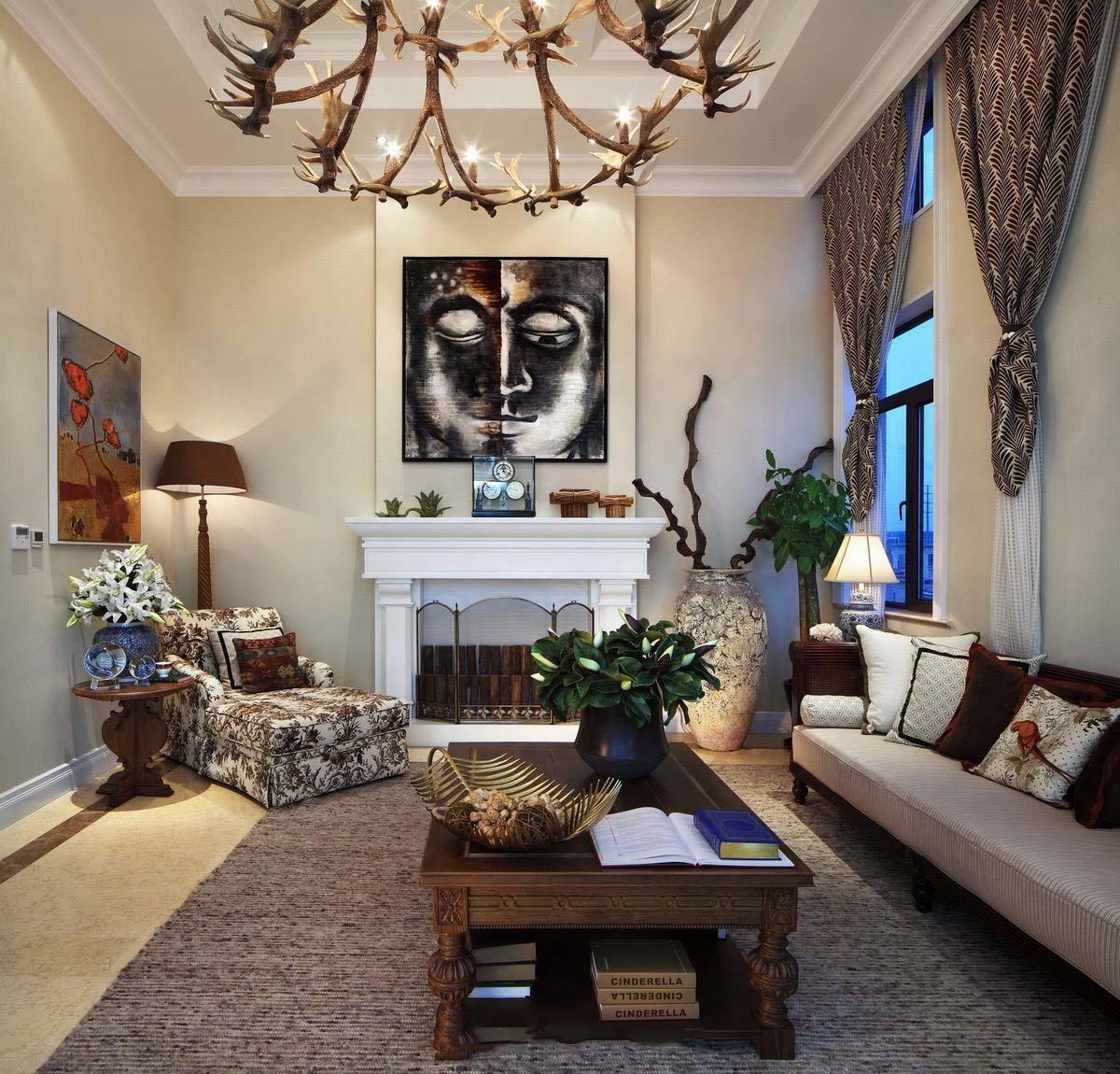 摩登东南亚客厅背景墙装饰画效果图