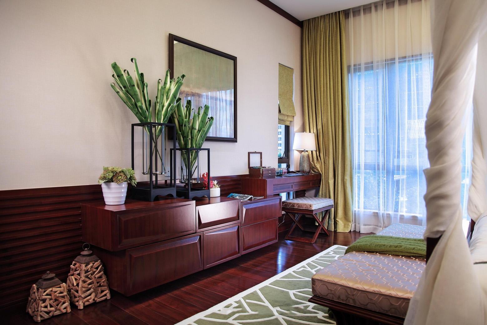 复古东南亚装修卧室梳妆台装潢效果图