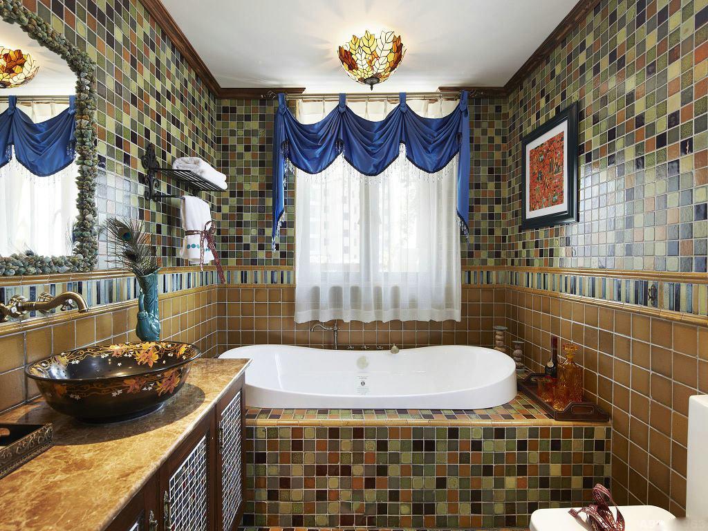 复古田园风马赛克卫生间瓷砖装饰效果图