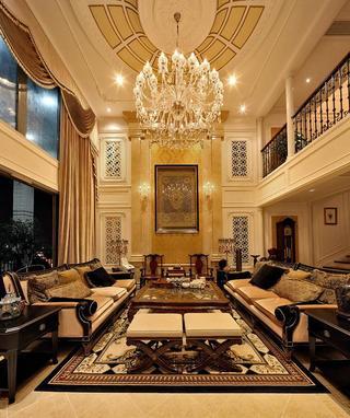 大气古典奢华欧式风格客厅水晶吊灯装饰效果图