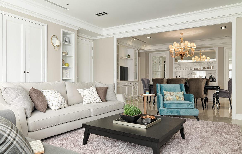 欧式装修风格客厅小茶几放置效果图