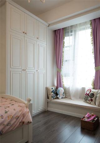 浪漫紫色美式卧室飘窗窗帘设计