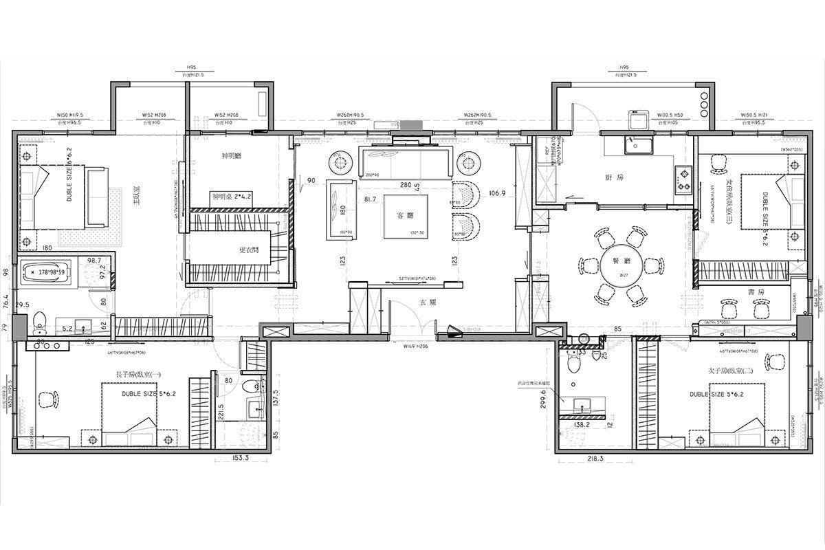 时尚现代简欧风别墅平面图设计