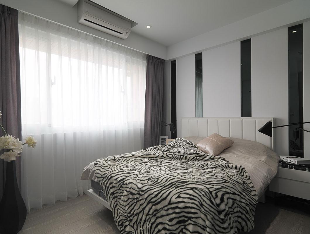 黑白简约现代风卧室背景墙装饰