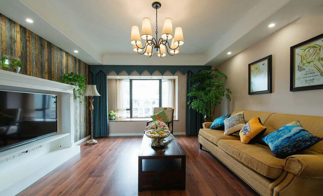 精致复古美式田园设计客厅效果图大全