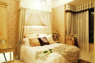 温馨甜美田园家居卧室床头效果图