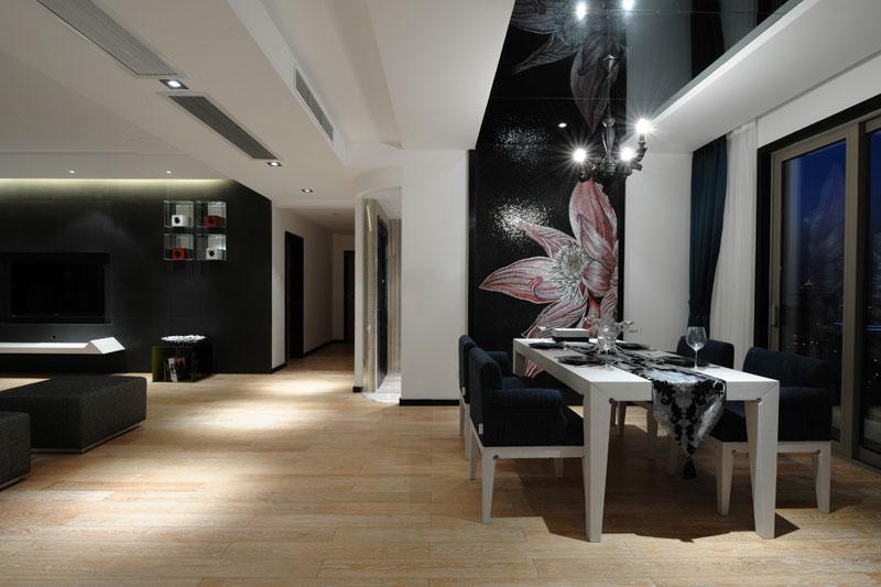 时尚摩登现代装修风格开放式餐厅灯饰搭配