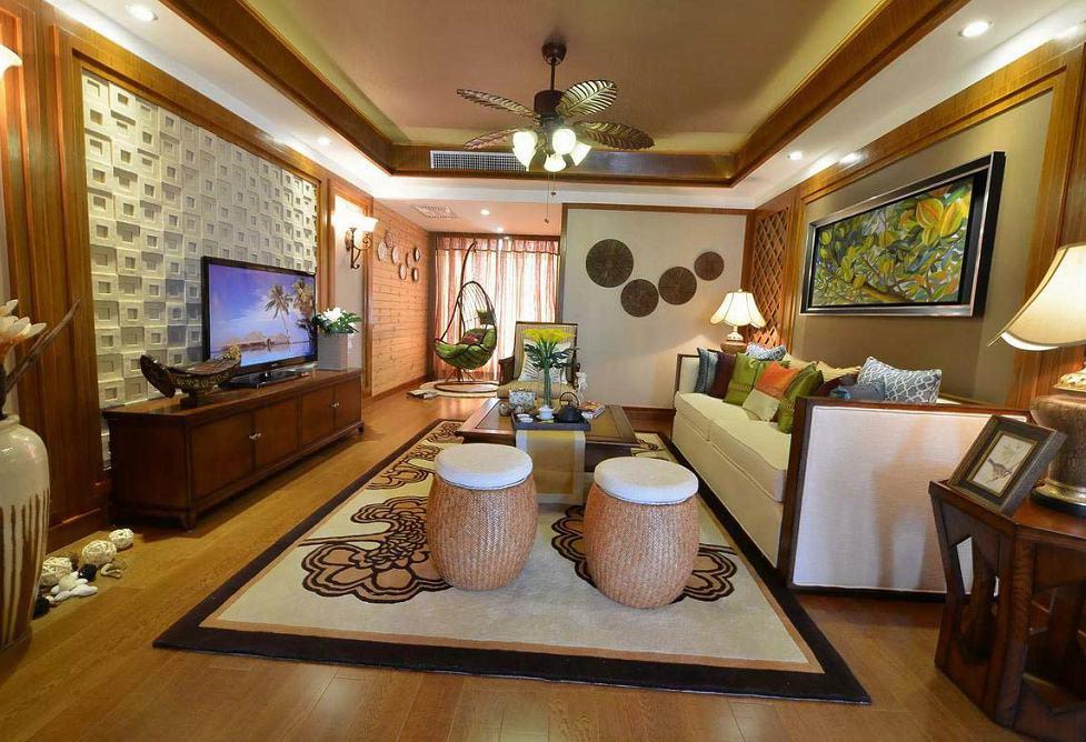 精美东南亚风情客厅装修效果图大全