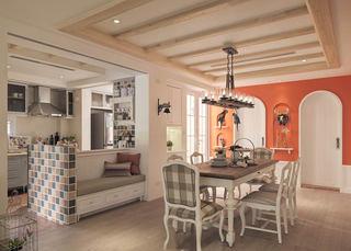 复古田园装修开放式厨房餐厅卡座设计