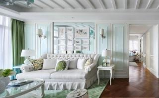 梦幻清新浅绿色美式二居公寓装饰效果图