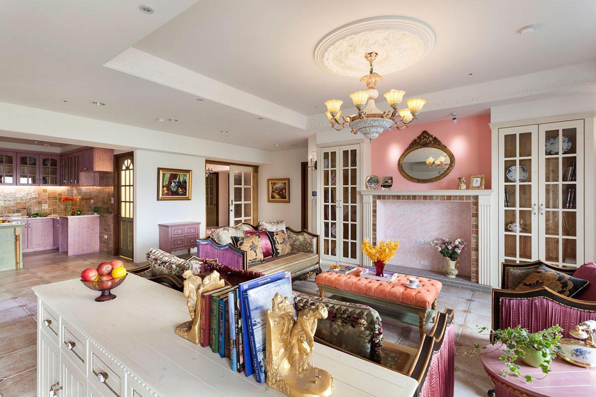 甜美粉紫色田园风开放式厨房客厅效果图