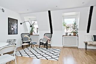 60平黑白简约时尚北欧公寓局部设计装潢效果图