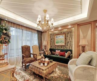 法式田园装饰风格客厅软装饰效果欣赏图