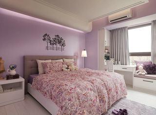 田园装修风格卧室紫色背景墙装饰效果图