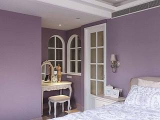 紫色唯美田园卧室梳妆台设计