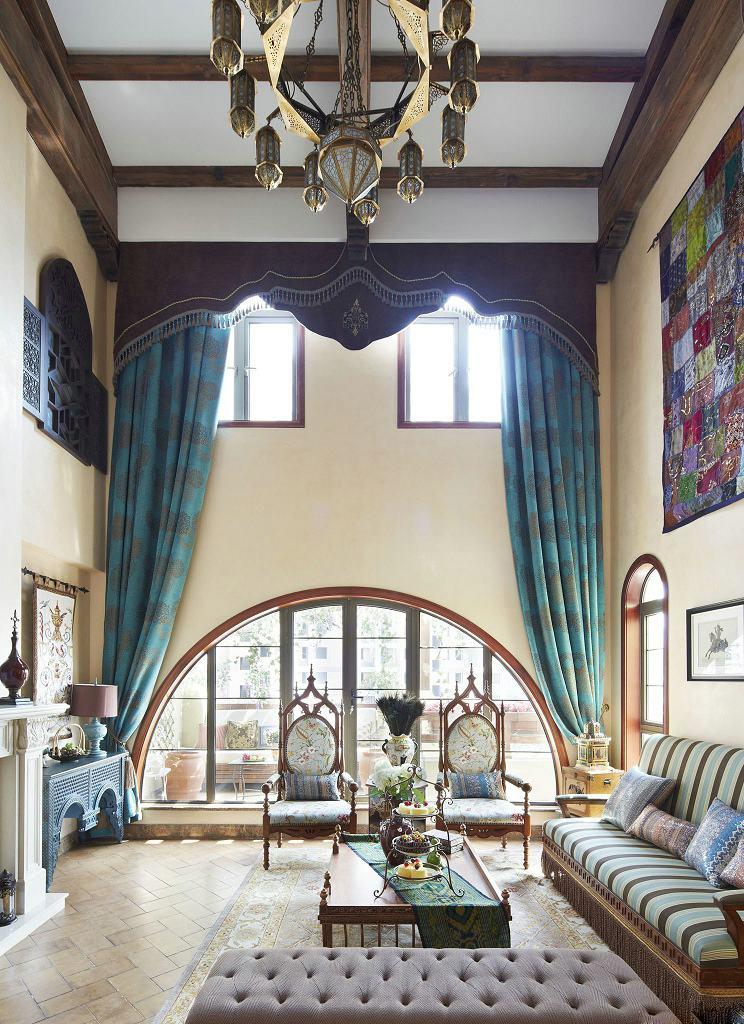 复古田园风客厅湖绿色格子窗帘效果图