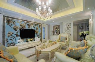 唯美奢华简欧客厅背景墙装饰效果图