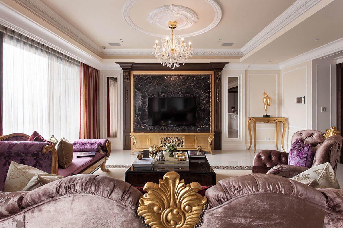 奢华精美欧式客厅大理石电视背景墙装饰