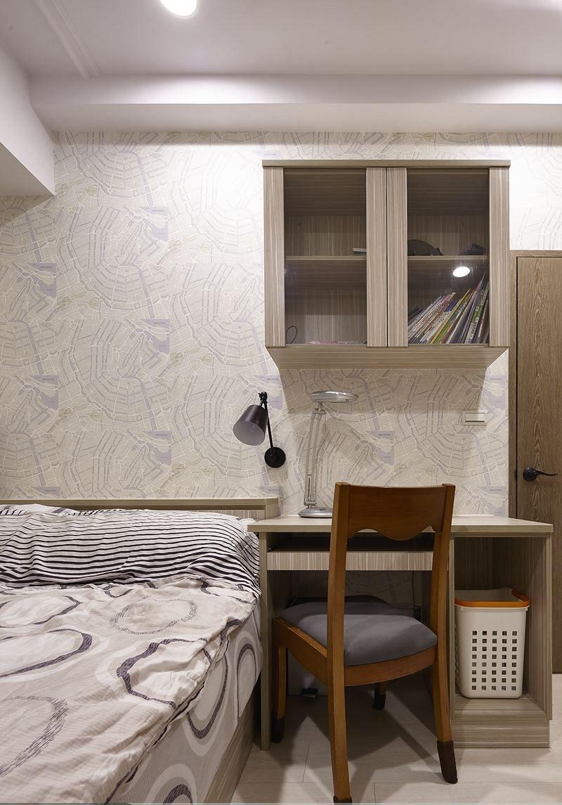 简约现代卧室墙面书柜设计