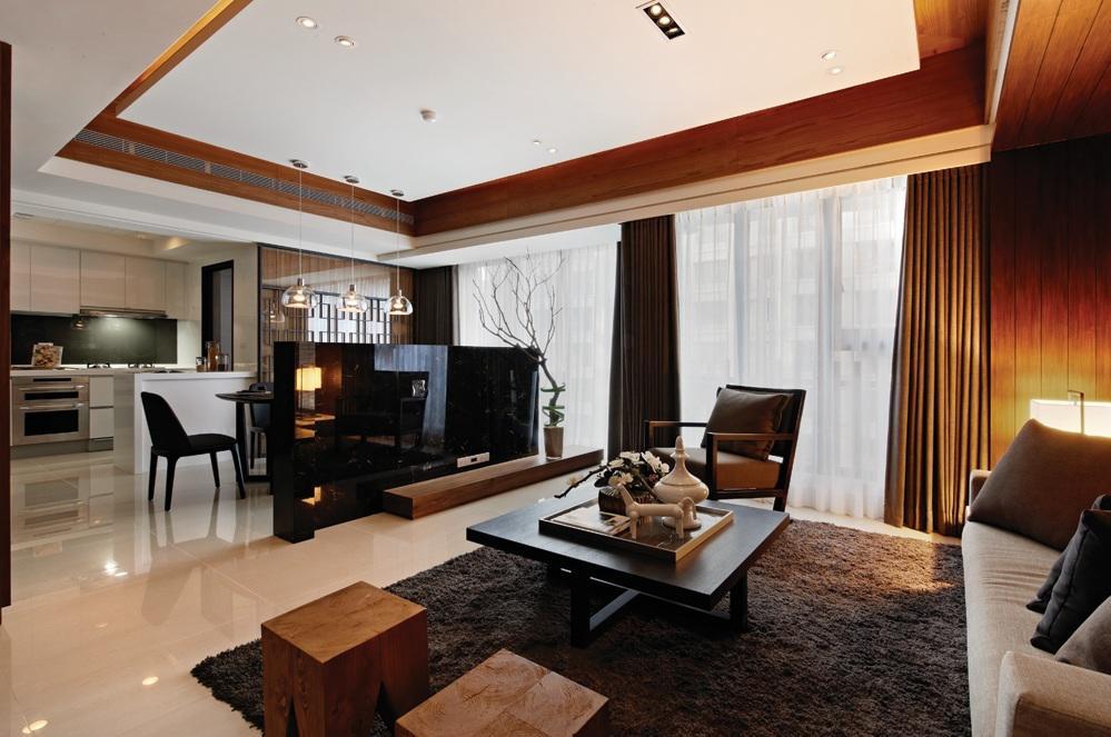 时尚现代新中式混搭客厅吊顶效果图欣赏