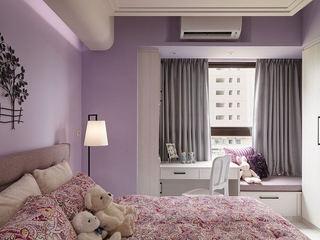 甜美香芋紫田园家居卧室带飘窗装饰图片
