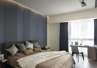 沉稳素雅现代设计风格卧室书桌布置效果图