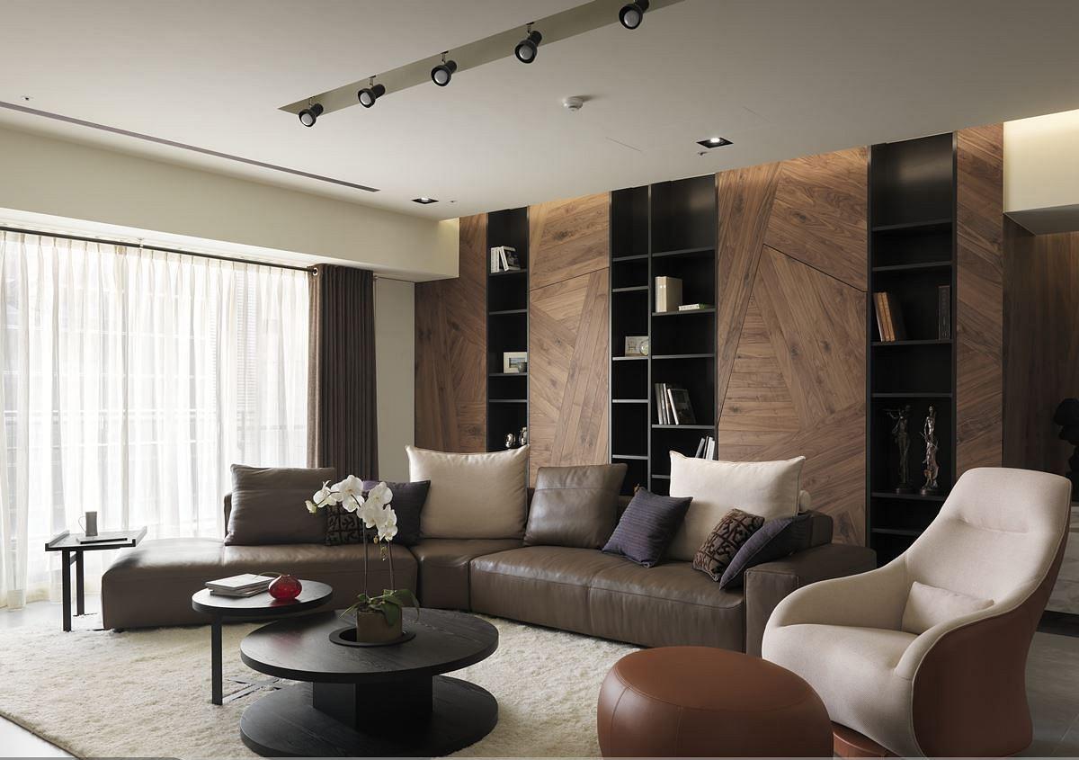 沉稳素雅现代客厅沙发装饰效果图