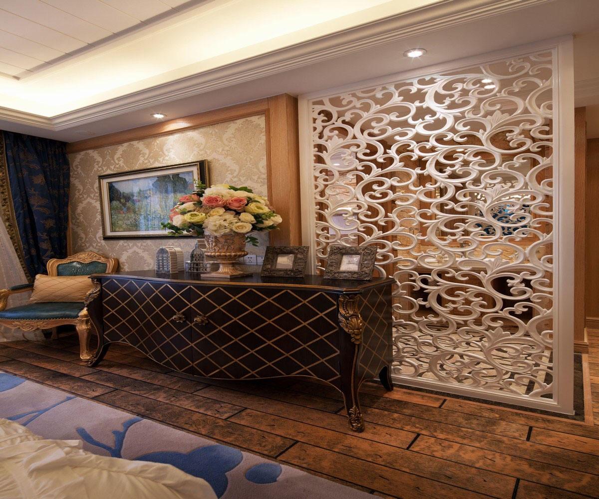 法式田园风格家居室内雕花窗棂隔断效果图