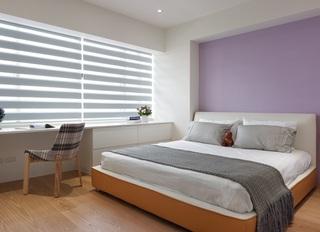 简约现代卧室紫色背景墙装饰效果图