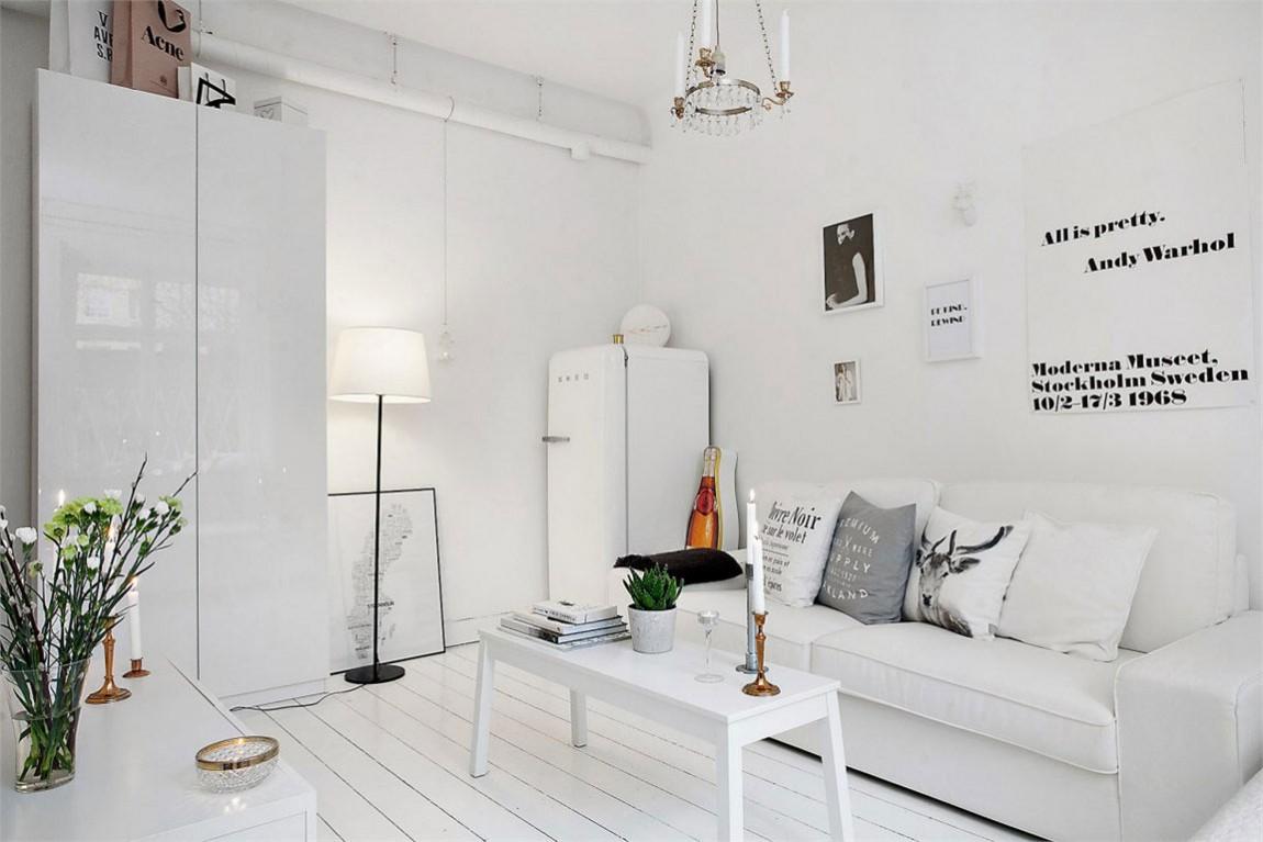 简洁北欧风格客厅白色沙发装饰效果图