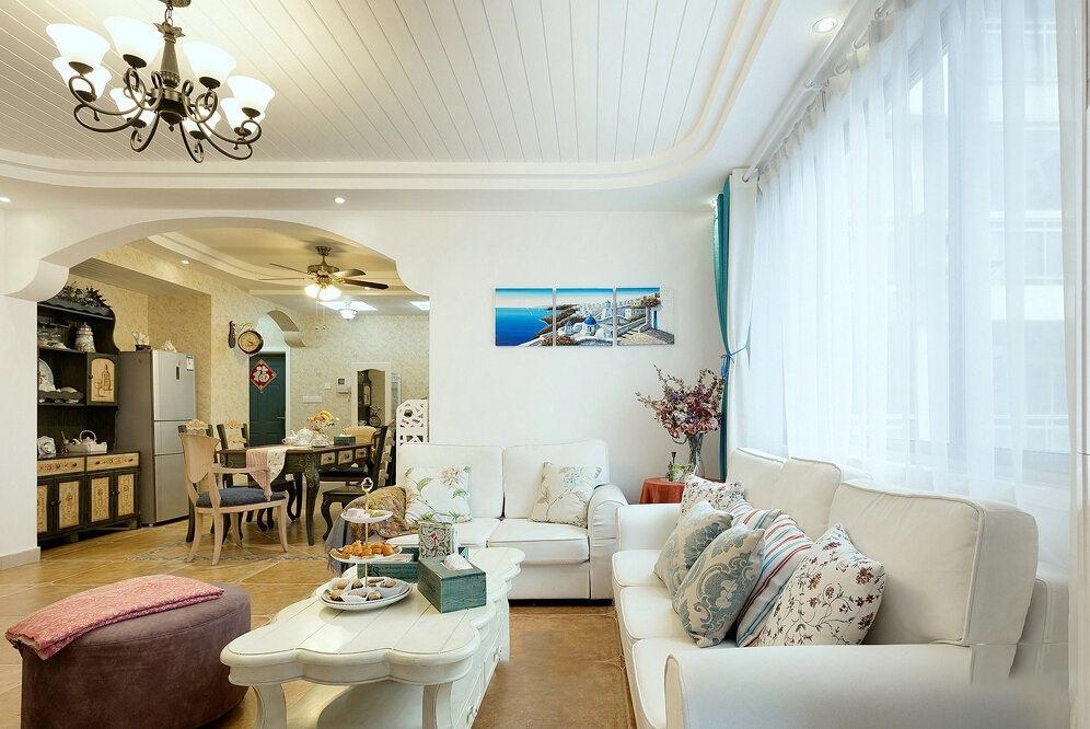 地中海风格客厅白色沙发装饰效果图