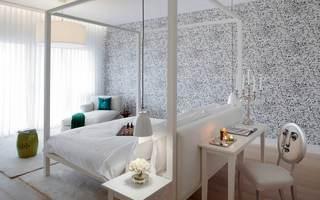 纯净时尚简约卧室马赛克墙纸装饰图