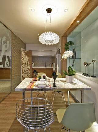 精致现代风格厨房餐厅一体吊顶装饰设计