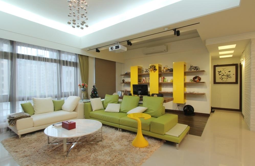 清新简约客厅书房一体设计装修图