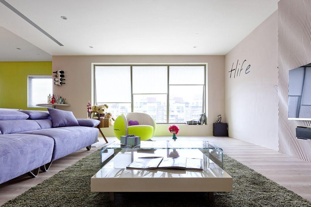 浪漫简约现代客厅紫色沙发装修图片