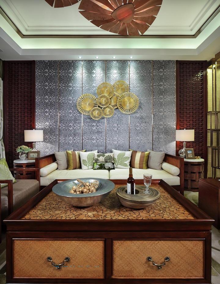 浪漫精致东南亚装修客厅背景墙装饰大全