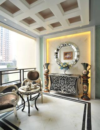 精致欧式新古典风格阳台软装饰效果图