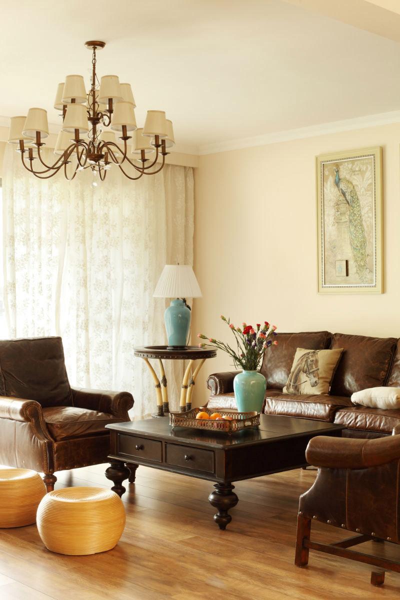 简约复古美式设计客厅皮艺沙发效果图