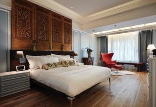 新古典装修风格卧室床头背景墙装饰效果图